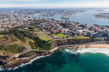 Keuken foto achterwand Oceanië Newcastle Beach and City Aeral View. Newcastle located on the east coast of Australia just north of Sydney has some amazing coastline.