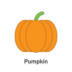Pumpkin in cartoon style, card with vegetable for kid, preschool activity for children, vector illustration