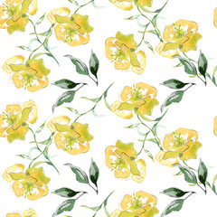 Yellow flowers, seamless pattern, and leaves