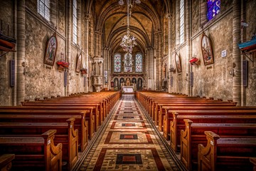 church from inside cathedral architecture aisle religion praying