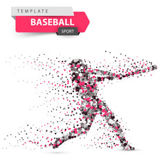 Baseball player - color dot illustration on the white background. Vector eps 10