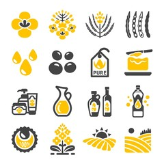 rapeseed,canola oil icon set