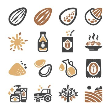 almond icon set