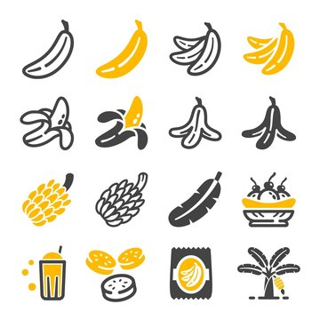 banana icon set