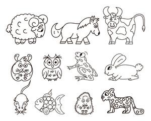 Vector ram, pony, owl, frog, mouse, rabbit, hedgehog. Isolated.