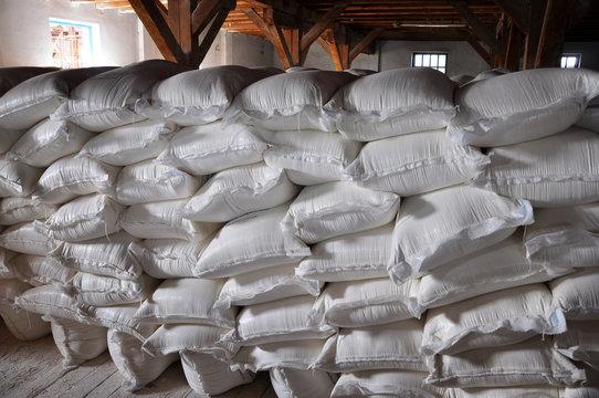 White sacks with flour