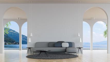 Modern loft living room sea view 3d rendering