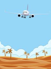 An airplane flying over desert