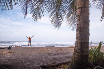Caribbean sea in Tortuguero beach in Costa Rica