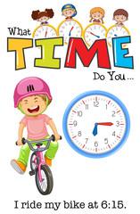 A boy riding bicycle at 6:15