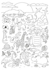Coloring hand drawn page with cute savanna animals vector