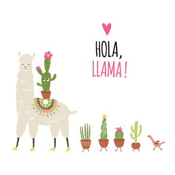 Llama Illustration, cute llama with cactuses