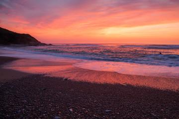 Pink sunset, over the beach near Saint Jean de Luz