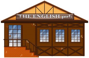 The English pub on white background