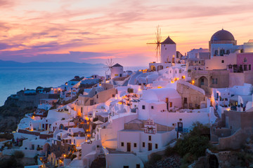 View of Oia the most beautiful village of Santorini Island in Greece.