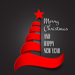 Merry Christmas with abstract Christmas tree. Merry Christmas and happy new year greeting card vector design.