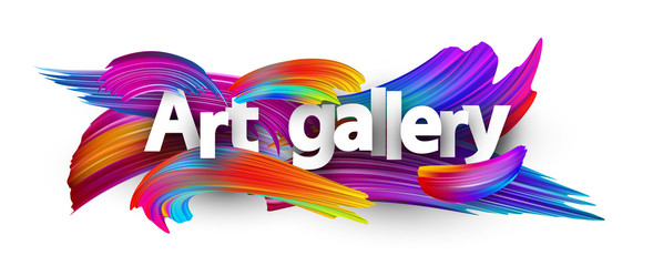 Art gallery paper poster with colorful brush strokes.