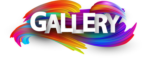 Gallery paper poster with colorful brush strokes.