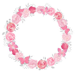 Watercolor floral wreath with rose, leaves, flowers and branches