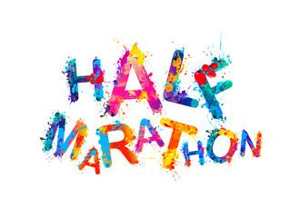 Half marathon. Word of splash paint letters