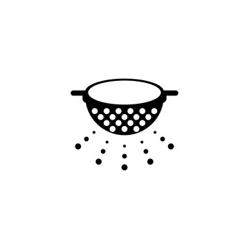 Kitchen Colander, Pasta Strainer. Flat Vector Icon illustration. Simple black symbol on white background. Kitchen Colander, Pasta Strainer sign design template for web and mobile UI element