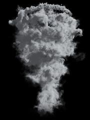 Grey Tornado Dust on Black Background