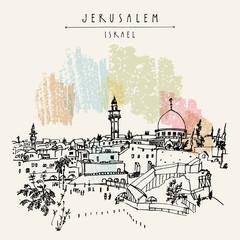 Jerusalem, Israel. City skyline. Wailing wall. Hand drawn touristic postcard