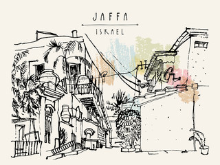 Artistic illustration of Jaffa (Yafo), Tel Aviv, Israel. Grungy black ink brush outline drawing with lighthouse, houses and trees. Postcard greeting card graphic design template