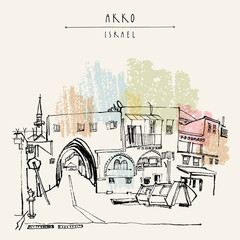 Akko, Israel. Grungy brush ink hand drawing . Vintage travel postcard template with a hand lettered title
