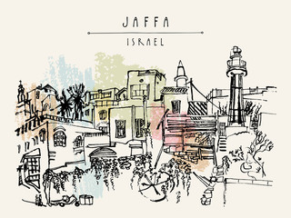 Vector illustration of Jaffa (Yafo), Tel Aviv, Israel. Grungy black ink brush  drawing with lighthouse, houses and trees. Postcard or poster