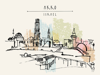Akko Israel hand drawn postcard