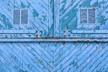 Old blue weathered distressed wood planks background