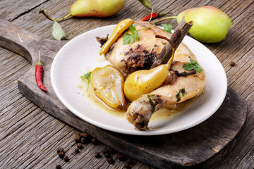 Chicken stewed in pear