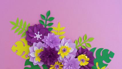 Paper craft Flower Decoration Concept.