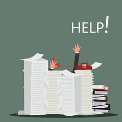 businessman hand help & hard working paper illustration office