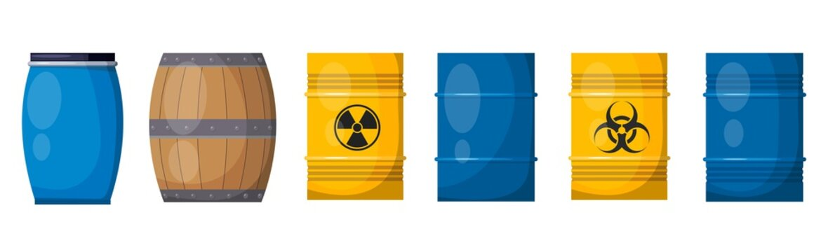Vector set casks on a white background. Illustration of a wooden and metal blue barrels, isolate object.