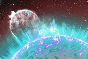 Sun and Earth in the depths of space. Scheme of solar radiation and electromagnetic field of the Earth. 3d illustration