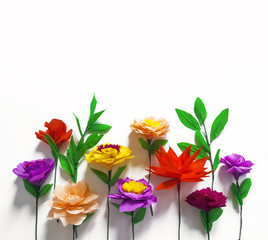 handmade flowers white background copy space