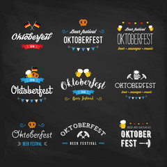 Oktoberfest beer festival lettering typography set celebration retro typographic design templates labels, badges and logos. Colorful poster. Composition with pretzels, beer, sausage and flag.