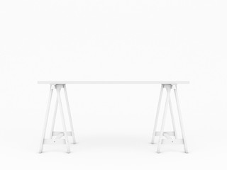 White table desk mockup isolated on light gray