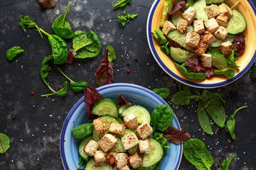 Fried Tofu Salad with Cucumbers, Sesame Seeds and green vegetables