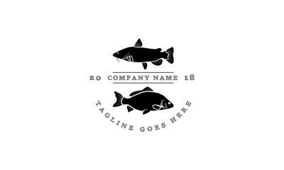 Catfish and Carp vector logo image
