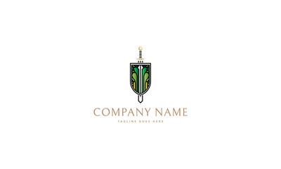 Shield and Sword vector logo image