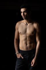 Young man posing in underwear