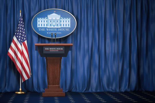 Podium speaker tribune with USA flags and sign of White House with space for text.  Briefing of president of US United States in White House.Politics concept.