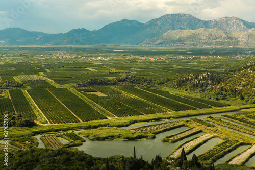 Valley in Croatia with intensive agriculture