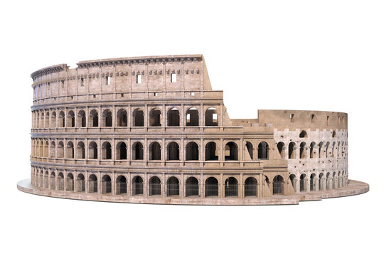 Coliseum, Colosseum isolated on white. Architectural and historic symbol of Rome and Italy,