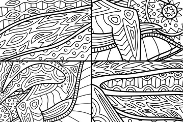 Abstract black and white patterns for coloring book pages