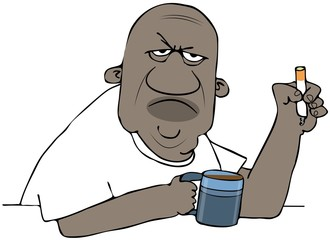 Illustration of an angry black man holding a cup of coffee and a cigarette.