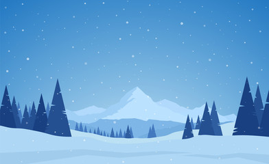 Wall Murals Blue jeans Vector illustration: Winter snowy calm Mountains landscape with pines, hills and snowflakes